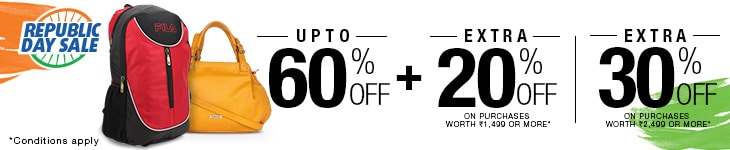 Upto 60% Off on Bags, Belts & Wallets + Extra 20% Off on purchases worth 1499 or more
