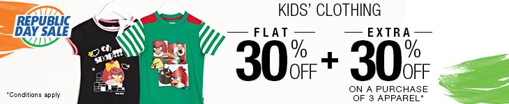 Flat 30% Off on Kid's Clothing + Extra 30% Off on buying 3 or more Clothing products