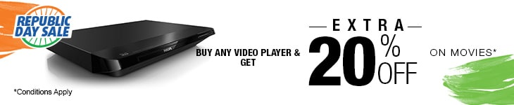 Buy any Video Player and Get Extra 20% Off on purchase of Movies