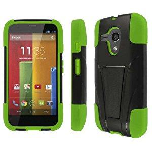 MPERO IMPACT X Series Kickstand Case for Motorola Moto G - Black / Neon Green