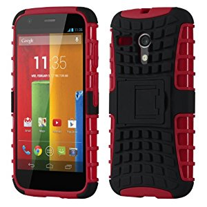 Motorala Moto G Cruzerlite Rugged Armour Dual Layer Defender Case for Moto G - Black/Red