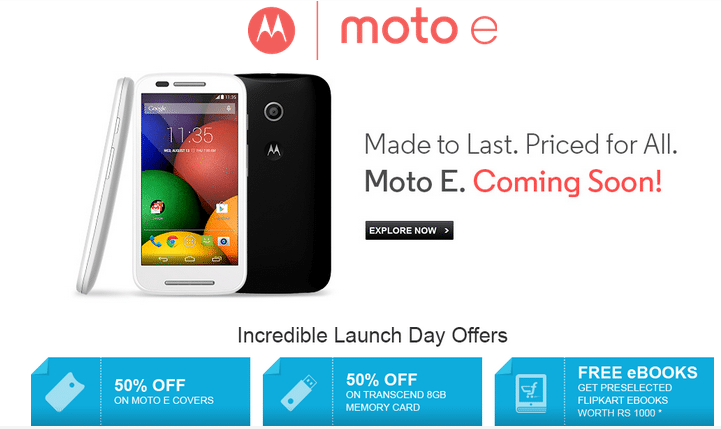Moto E Goes on Sale at May 14 for Rs 6999;Flipkart Gives Launch Day Offers