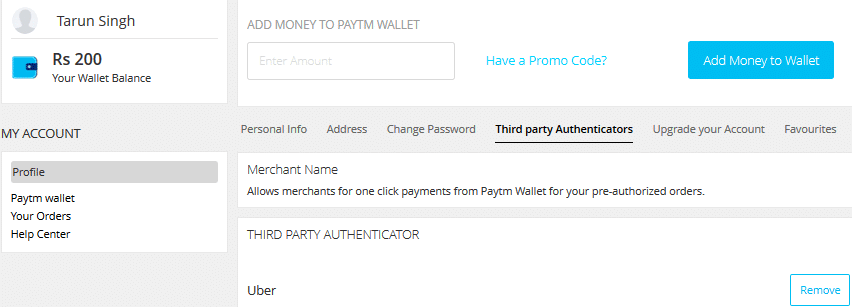 How to Remove PayTM Wallet from Uber