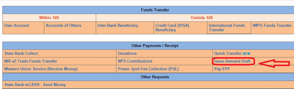 How to Apply for Demand Draft Online from SBI Internet Banking