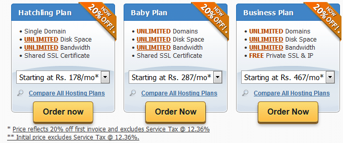Hostgator Indian Plans Compared
