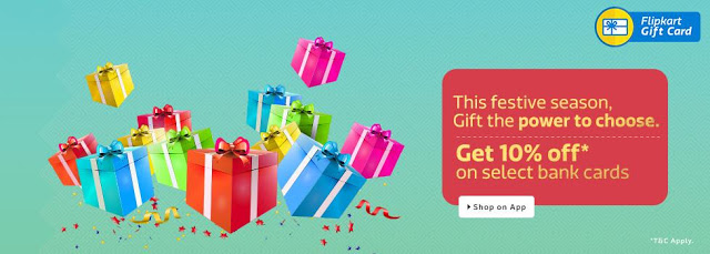 Flipkart Gift Cards at 10% Off Using State Bank Debit & Credit Cards