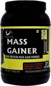 Musclemass High Protein Mass Gainer Chocolate, 1 Kg / 2.2 Lb