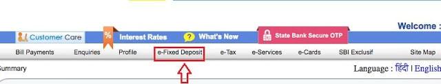 e-Fixed Deposit Tab in Online SBI