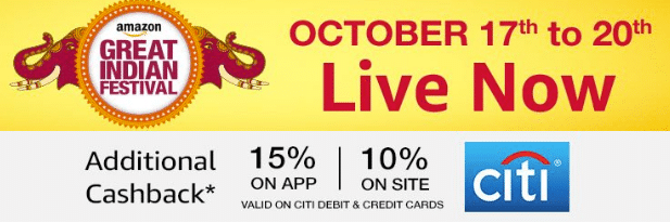 Amazon Great Indian Festival from 17th - 20th October + 15% Off Using Citibank Cards