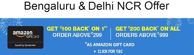 Amazon Now: Rs.200 Cash back on Every Order Above Rs.999 (Delhi NCR & Bengaluru)