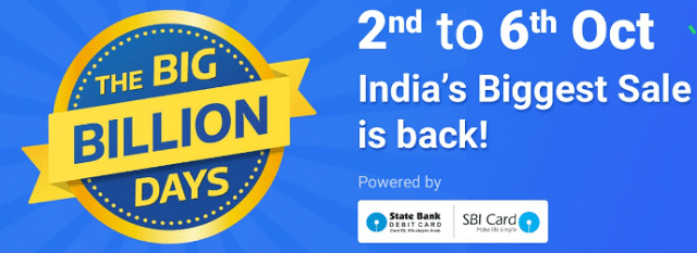 Flipkart The Big Billion Days Sale 2nd to 6th October