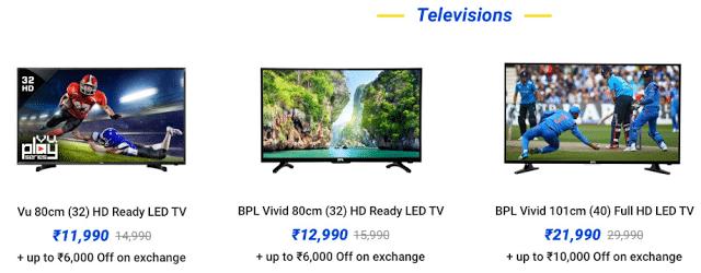 Flipkart The Big Billion Days Sale - Day 1 - TVs & Appliances