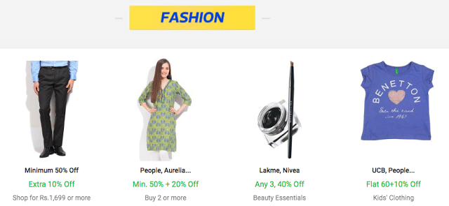 Flipkart The Big Billion Days Sale - Day 1 - Fashion & Lifestyle