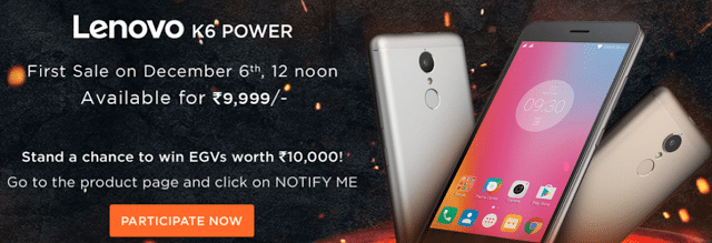 Lenovo K6 Power Launch Day Offers on Flipkart