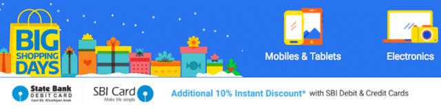 Flipkart Big Shopping Days Sale 18 - 21 Dec, 2016 + 10% Discount with SBI Cards