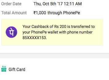 Get Rs.1000 Flipkart Gift Card for Rs.800 Using PhonePe