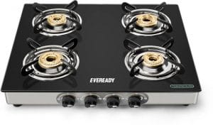 Eveready GS TGC4B Stainless Steel 4 Burner Glass Top Gas Stove
