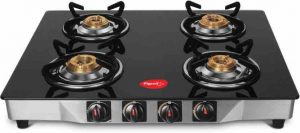 Pigeon Ultra Glass, SS Manual Gas Stove (4 Burners)