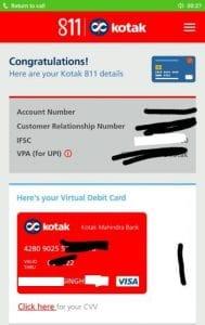 Kotak 811 Virtual Debit Card