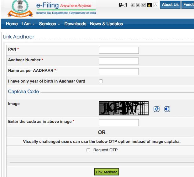 Link Aadhaar card with PAN Online