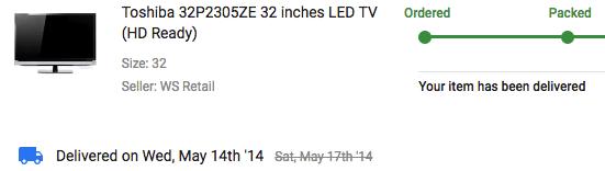 TV Bought Online from Flipkart