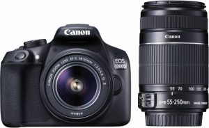 Canon EOS 1300D 18MP Digital SLR Camera (Black) with 18-55 and 55-250mm is II Lens