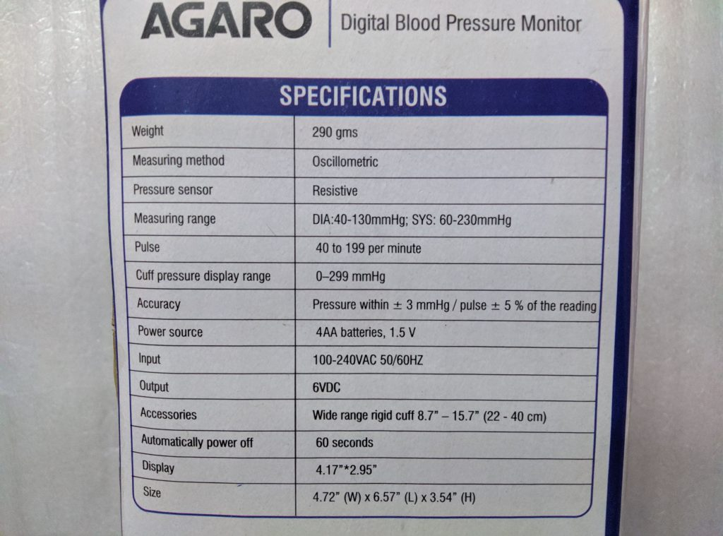 AGARO BP-801 Specifications